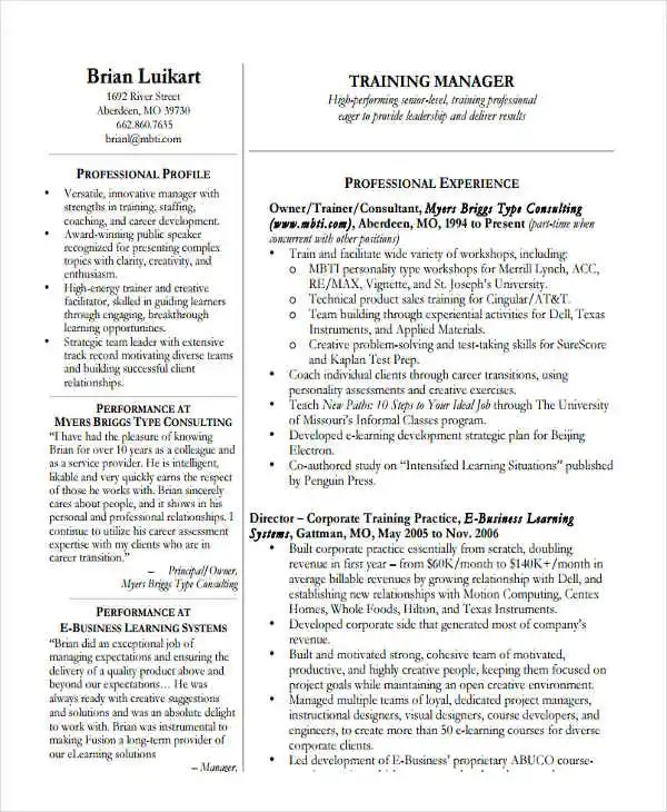 22+ Education Resume Templates - PDF, DOC Free  Premium Templates - Training Manager Resume