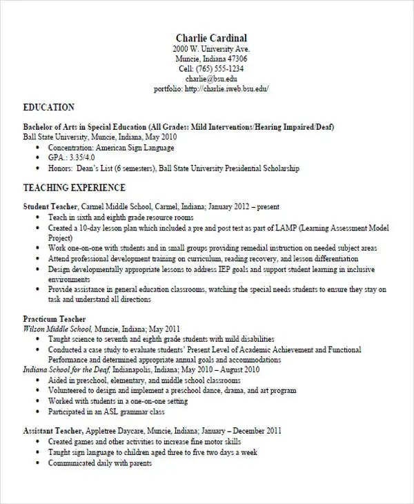 special education teacher resume templates