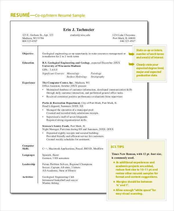 sample engineering internship resume