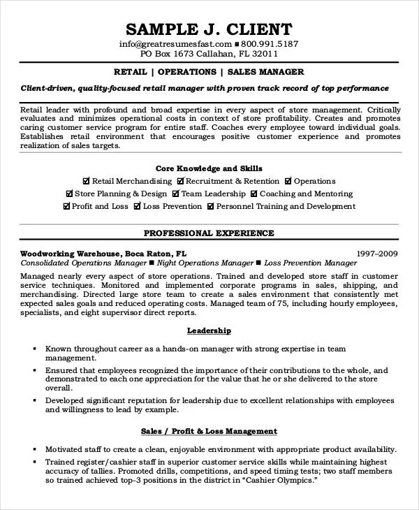 sample resume operations manager position