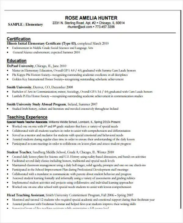 22+ Education Resume Templates - PDF, DOC Free  Premium Templates