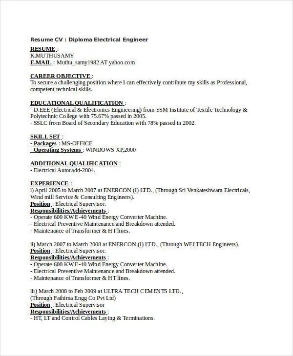 Free Engineering Resume Templates - 49+ Free Word, PDF Documents - cement process engineer sample resume