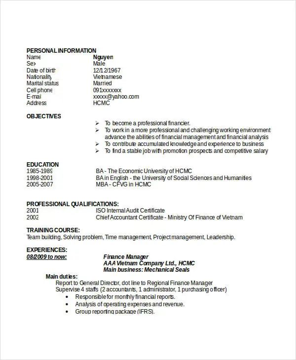 finance manager cv doc