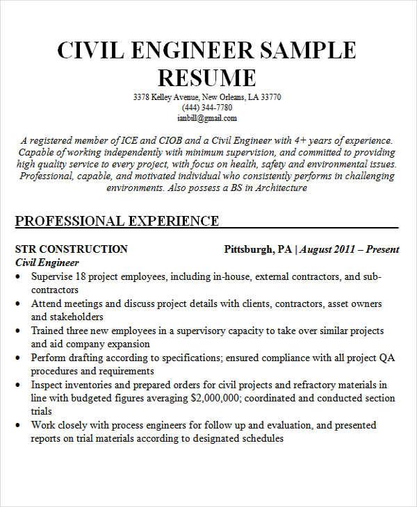 25+ Best Engineering Resume Templates - PDF, DOC Free  Premium