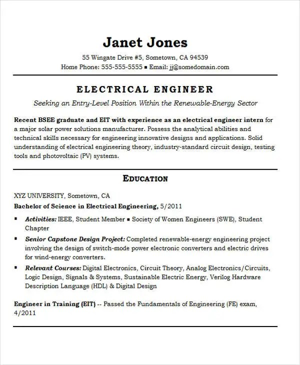 25+ Best Engineering Resume Templates - PDF, DOC Free  Premium - solar power engineer sample resume