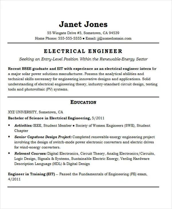 entry level engineering resume templates