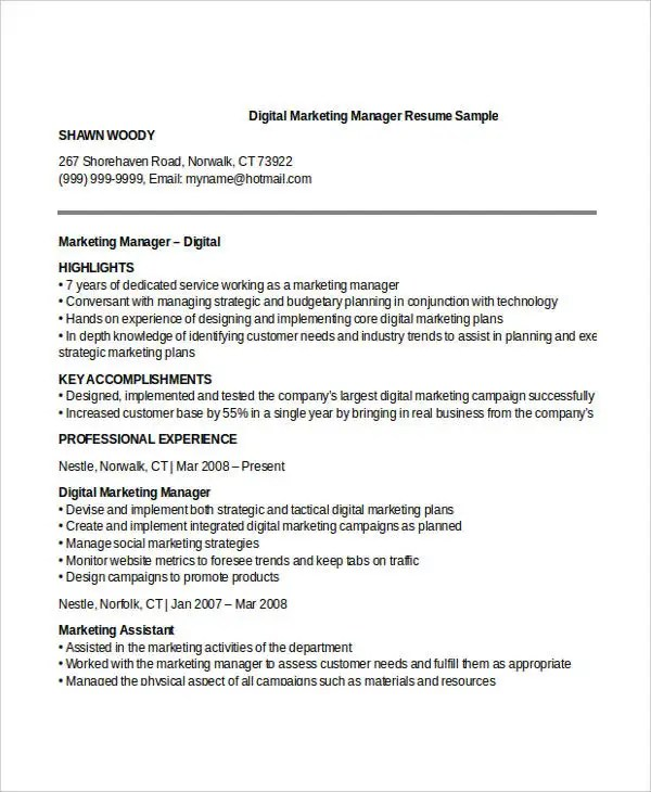 Professional Manager Resume - 49+ Free Word, PDF Documents - marketing manager resume