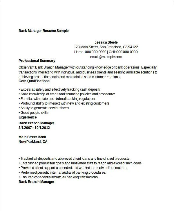 49+ Professional Manager Resumes - PDF, DOC Free  Premium Templates - manager resume examples