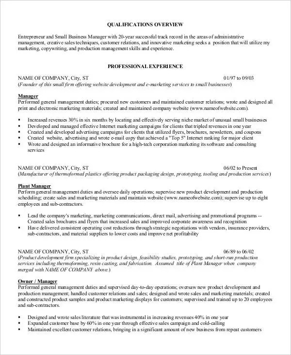 49+ Professional Manager Resumes - PDF, DOC Free  Premium Templates - furniture company general manager resume