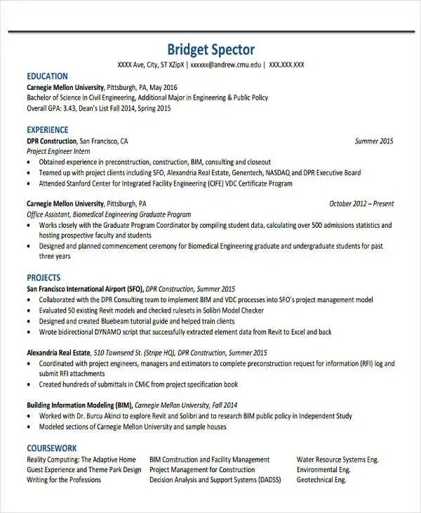37+ Engineering Resume Examples Free  Premium Templates