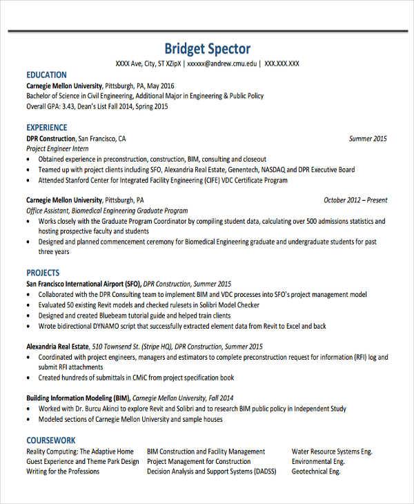 37+ Engineering Resume Examples Free  Premium Templates - engineering intern resume