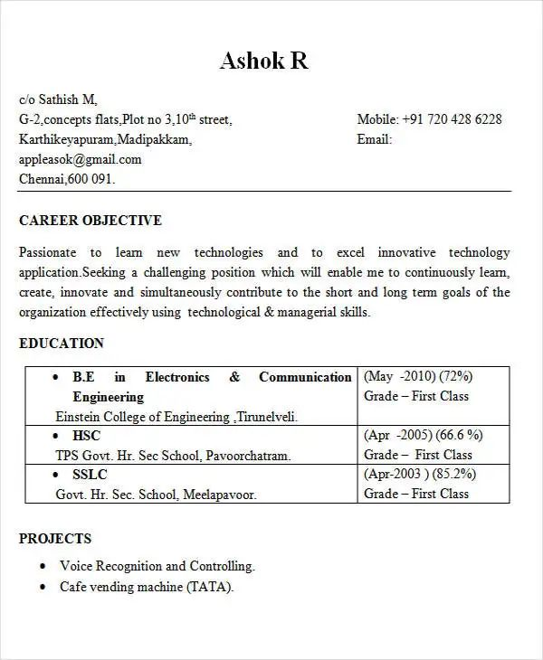 computer engineering resume format for freshers 2