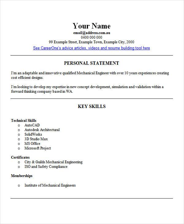 resume engineering sample