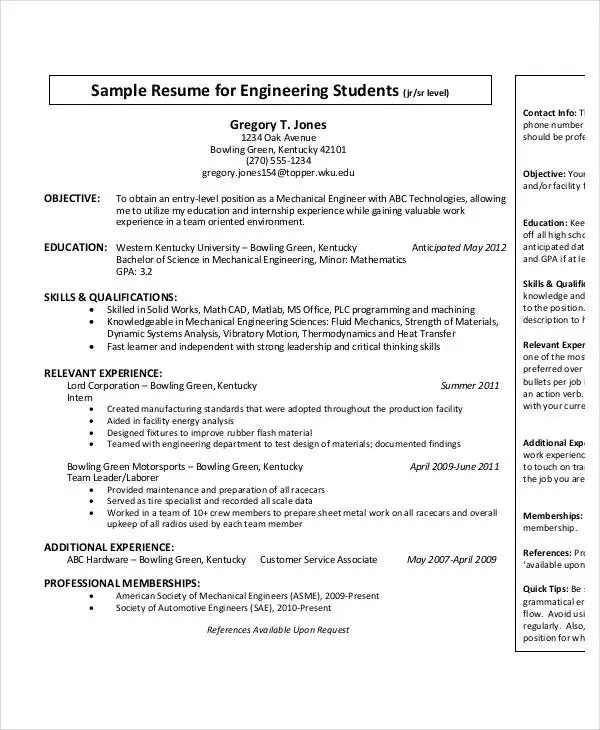 Free Engineering Resume Templates - 49+ Free Word, PDF Documents