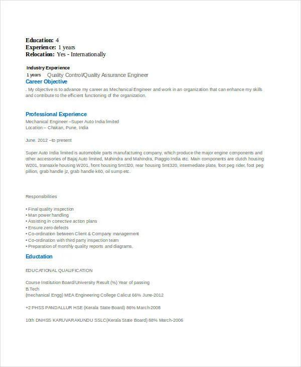 engineering students resume