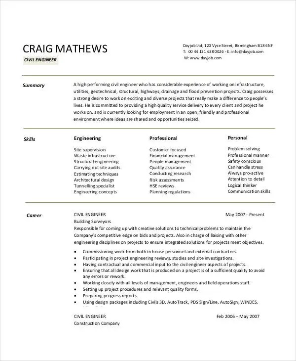 Free Engineering Resume Templates - 49+ Free Word, PDF Documents - civil project engineer sample resume