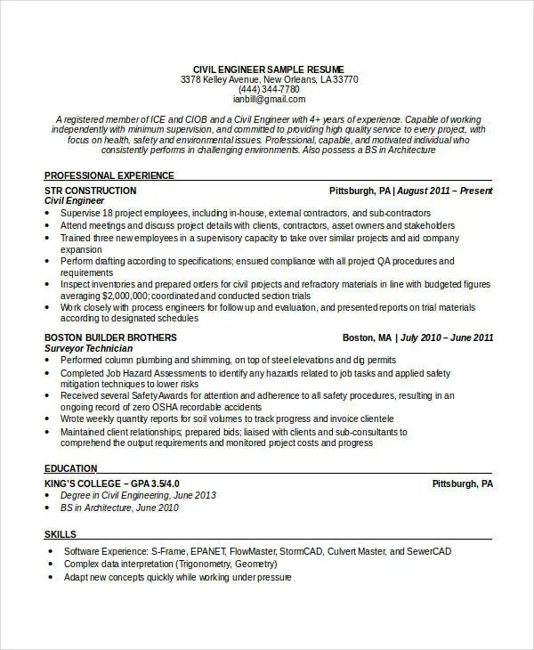Free Engineering Resume Templates - 49+ Free Word, PDF Documents - nuclear safety engineer sample resume