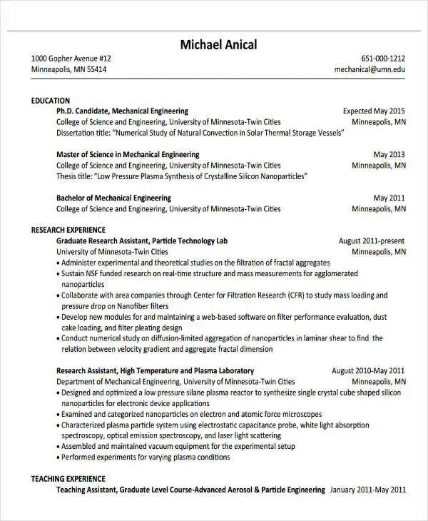 engineering sample resume