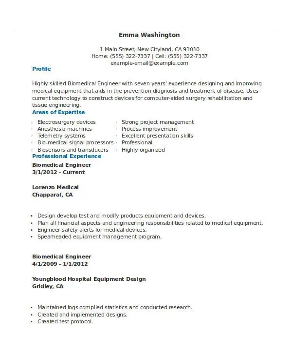 Free Engineering Resume Templates - 49+ Free Word, PDF Documents - biomedical engineer resume