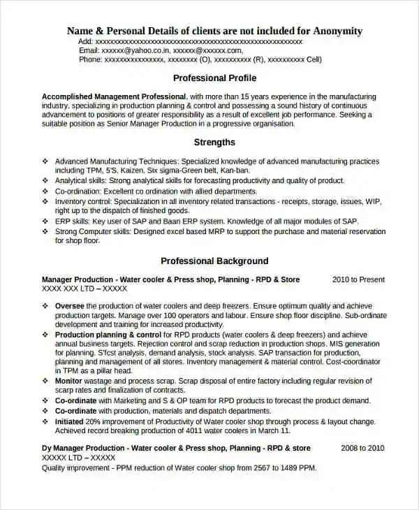 experience resume for production engineer - Ozilalmanoof - television production engineer resume