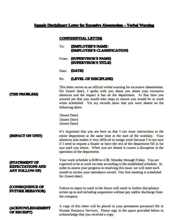 Verbal Warning Letter Template South Africa Best Photos Download