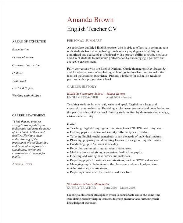 english teacher cv word