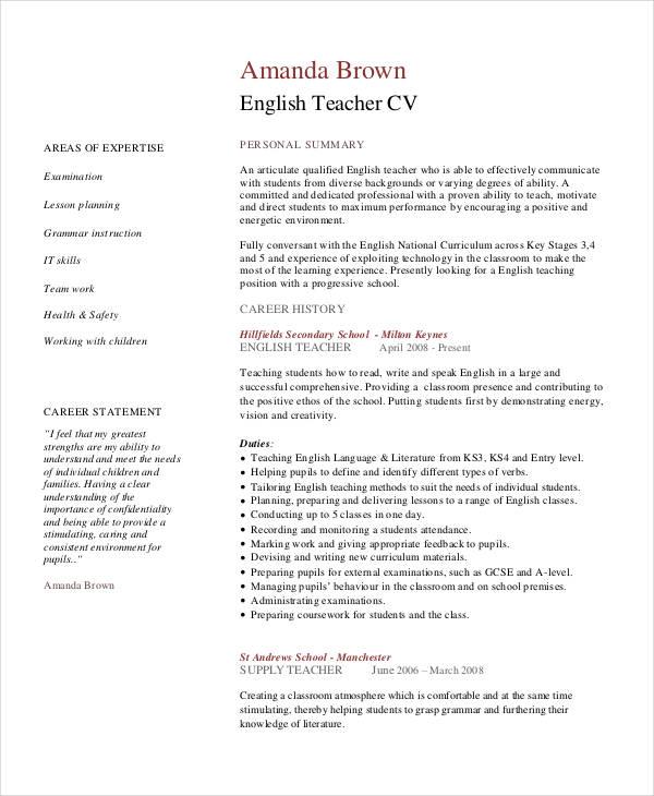 sample english teacher resumes