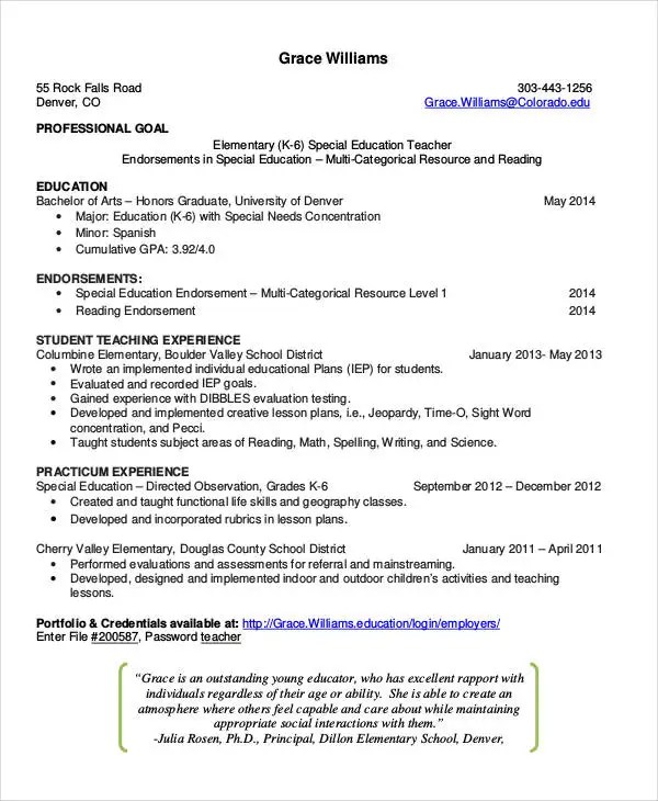 Teacher Resumes - 27+ Free Word, PDF Documents Download Free - special education teacher resume