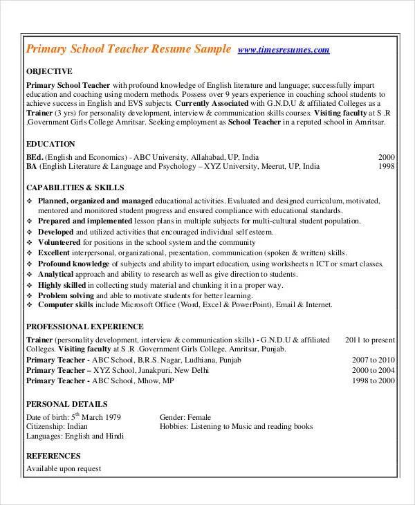 resume of english teacher pdf