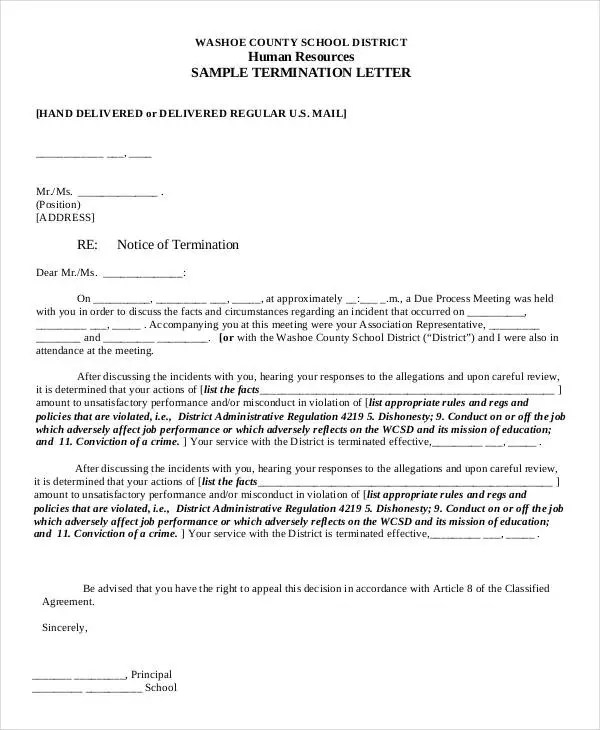 41+ Sample Termination Letter Templates - Word, PDF,AI Free - example of a termination letter