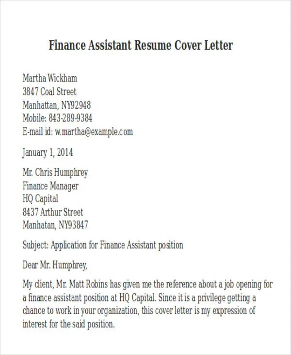 finance assistant cover letter resume templatepaasprovidercom - Hospitalist Cover Letter