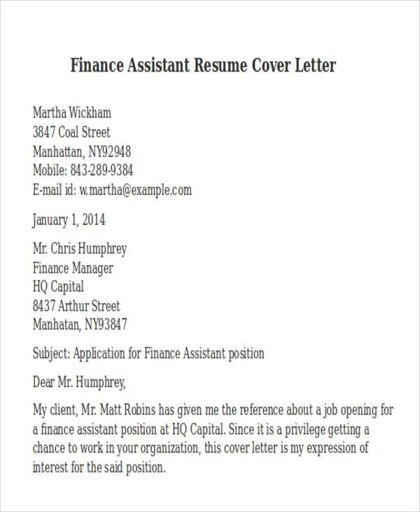 creating a cover letter for a resume