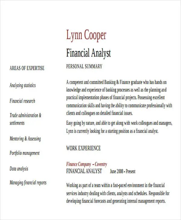 financial reporting analyst resumes