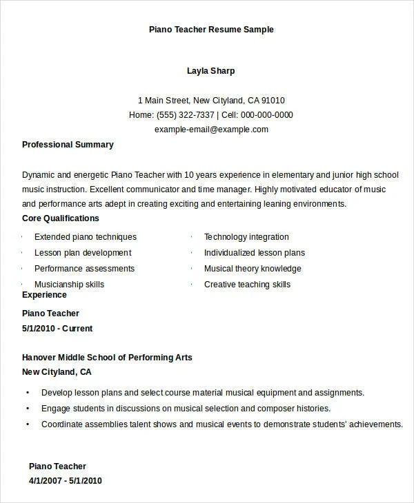 resume for elementary music teacher