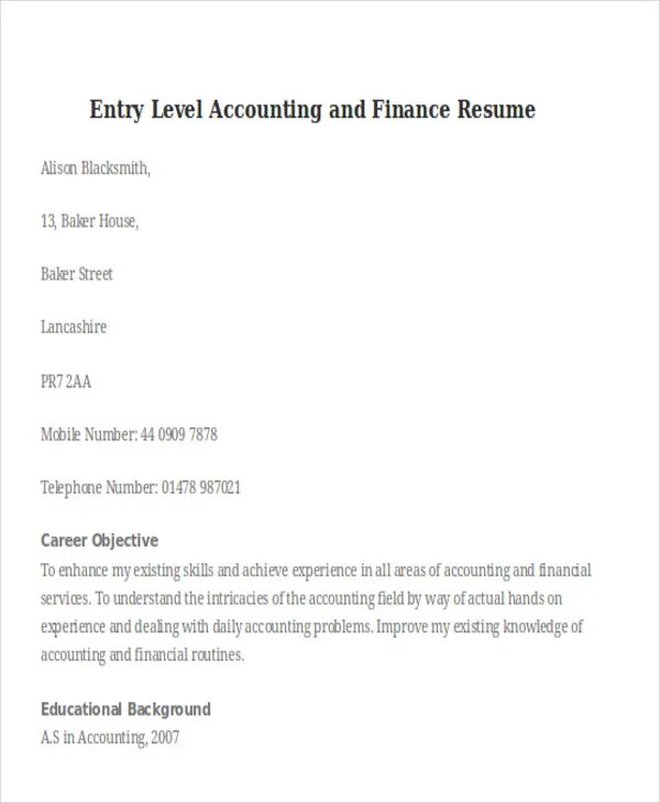 25+ Professional Finance Resume Templates Free \ Premium Templates - entry level accounting resume objective
