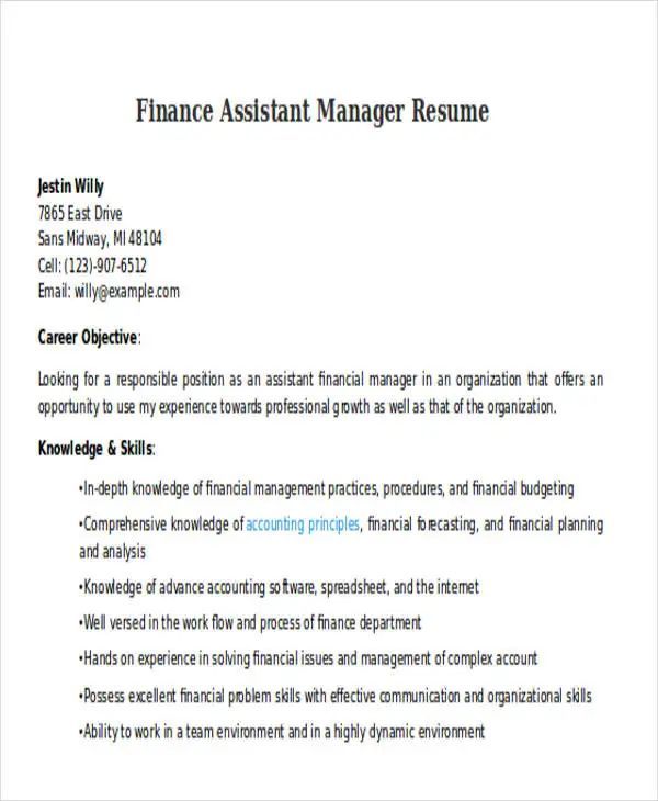 resume finance manager