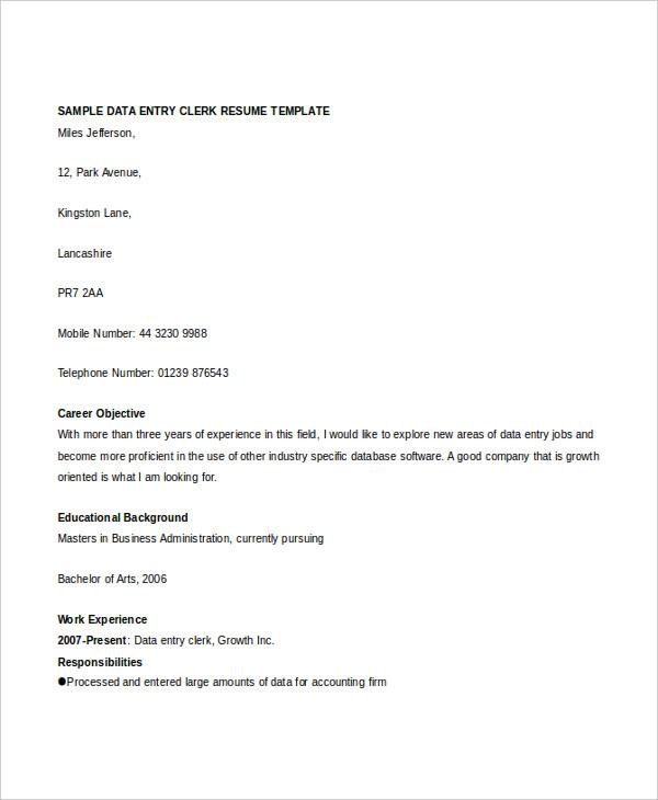 sample data entry clerk resume vinodomia 15 useful materials for