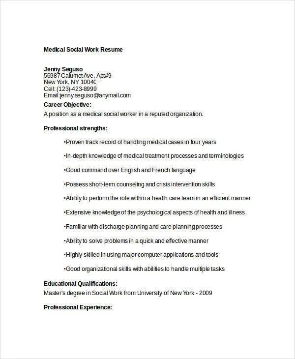 15+ Best Work Resume Templates - PDF, DOC Free  Premium Templates - medical social worker resume