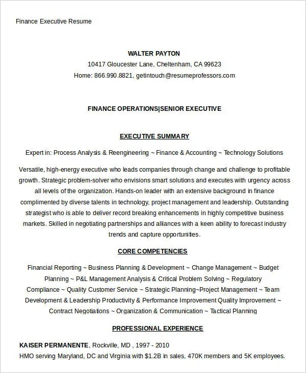 Finance Resume Samples - 21+ Free Word, PDF Documents Download - executive summary in resume