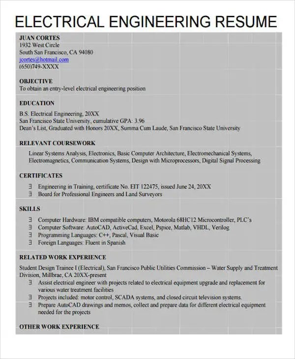 31+ Professional Engineering Resume Templates - PDF, DOC Free