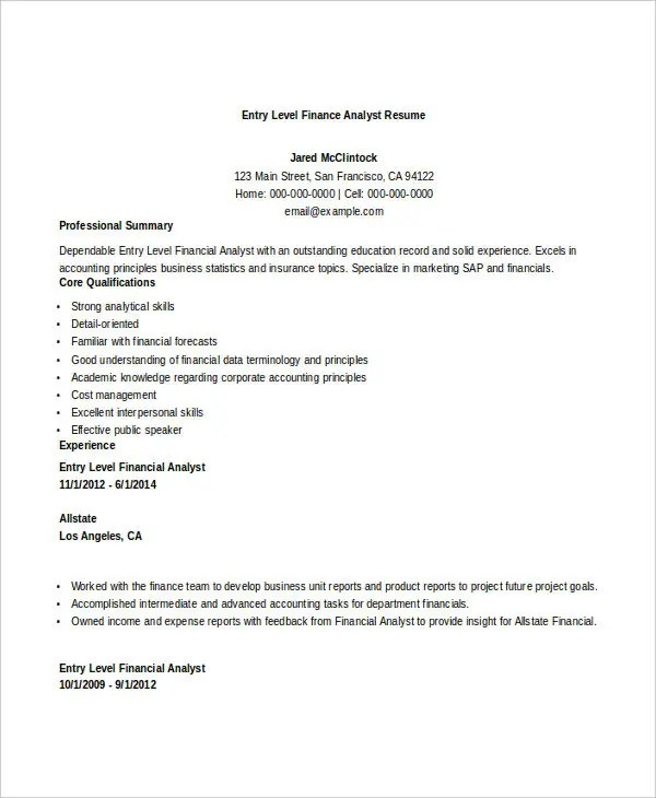 28+ Finance Resume Templates - PDF, DOC Free  Premium Templates - Entry Level Resume