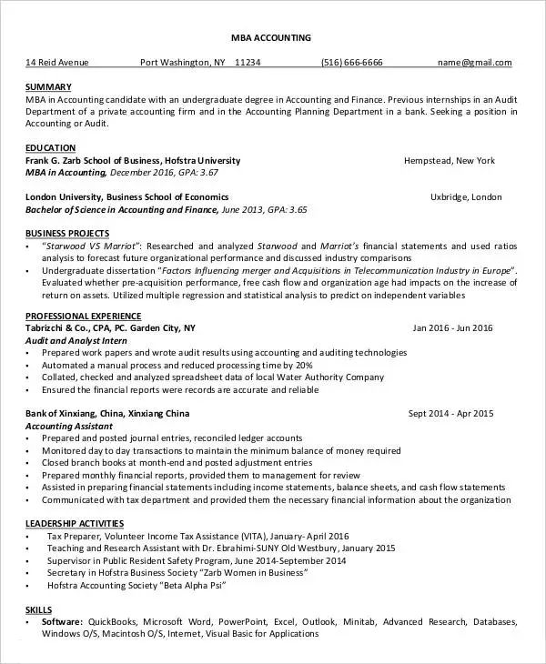 free accounting resume templates