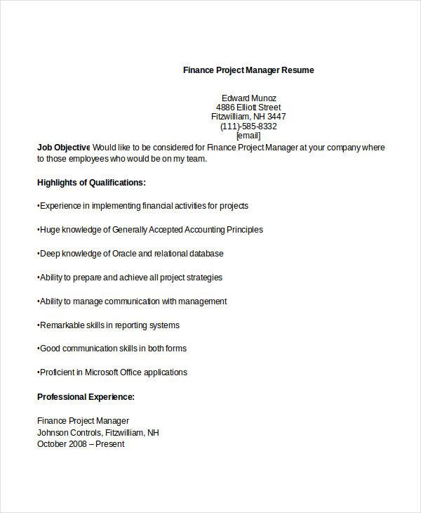 28+ Finance Resume Templates - PDF, DOC Free  Premium Templates - resume templates finance