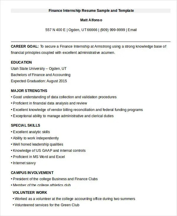 20+ Finance Resume Templates - PDF, DOC Free  Premium Templates - resume for finance