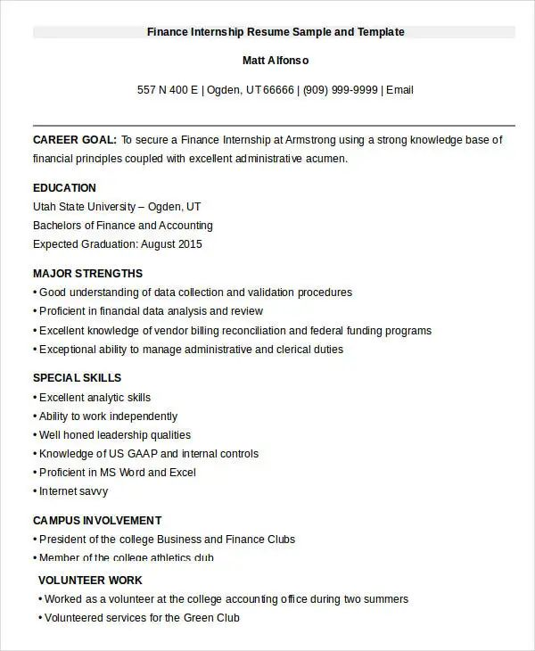 internship resume template pdf