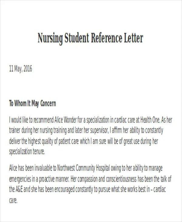 Nursing Reference Letter Templates - 8+ Free Word, PDF Format
