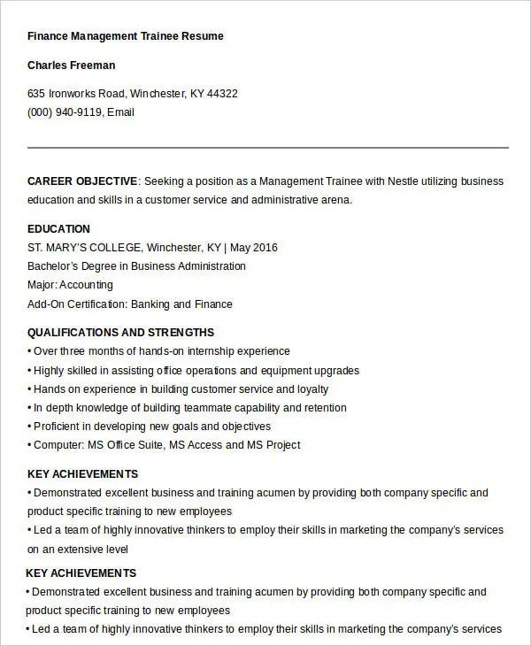Management Trainee Resume - nmdnconference - Example Resume And