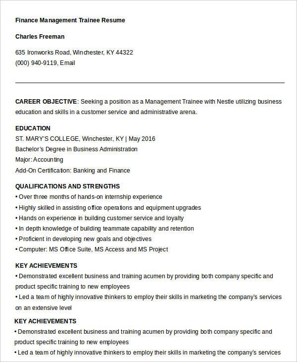 20+ Finance Resume Templates - PDF, DOC Free  Premium Templates - enterprise management trainee resume