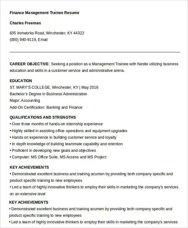 finance resume template free
