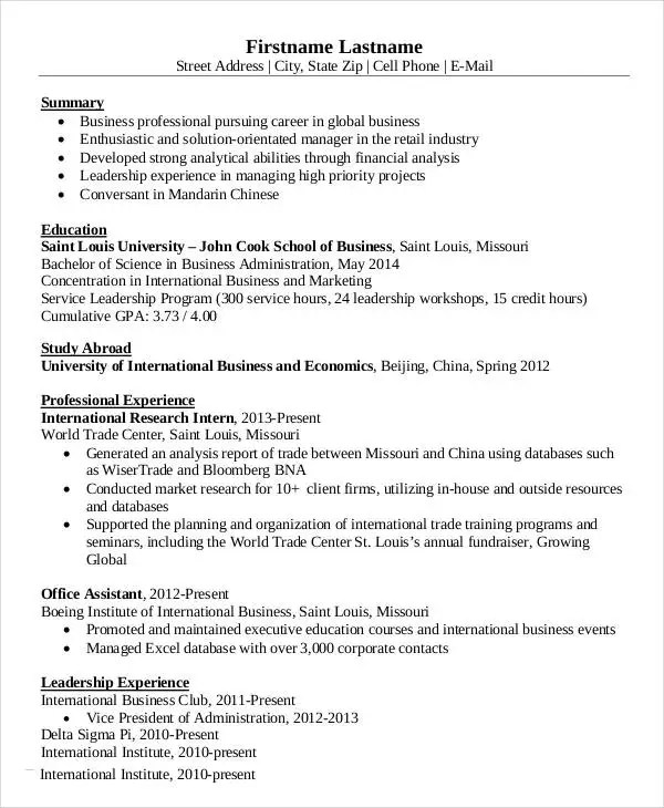 15+ Simple Business Resume Templates - PDF, DOC Free  Premium - International Business Resume